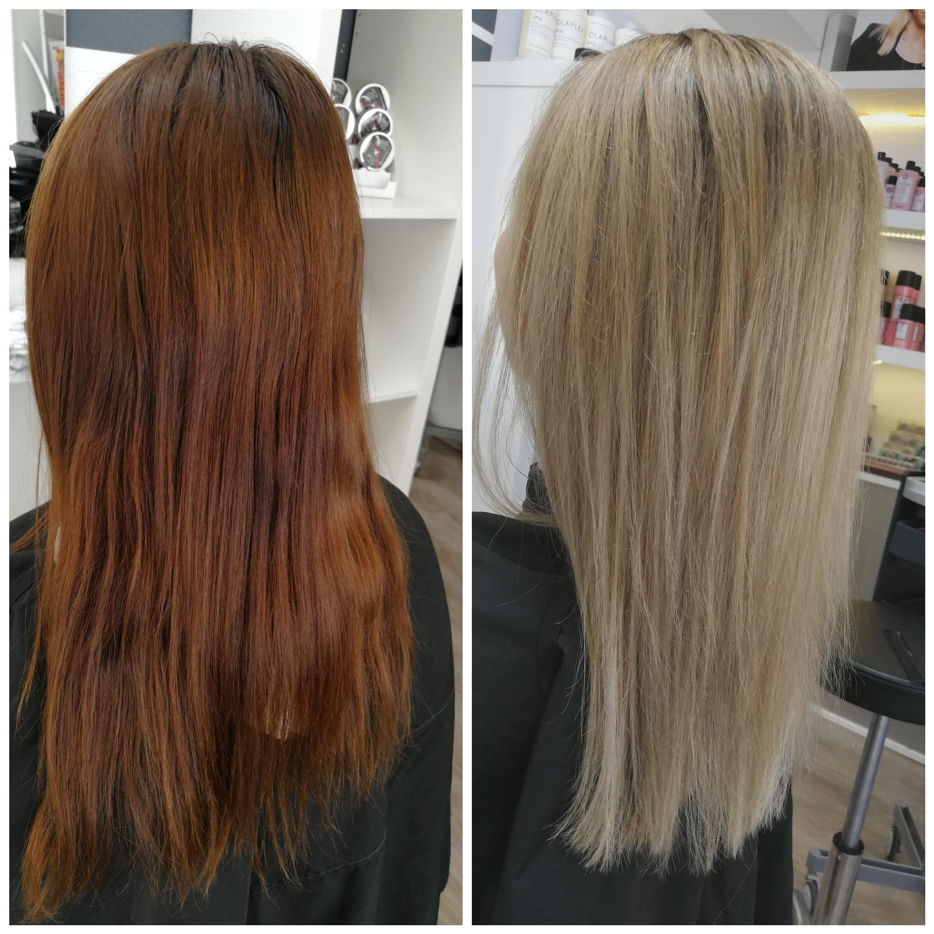 von rot auf blond ohne Haarschädigung mit Olaplex